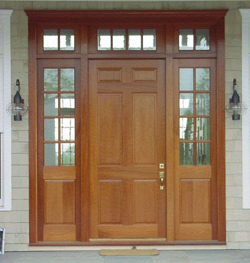 6 panel wood entry door with sidelights and transoms for Home depot front doors wood