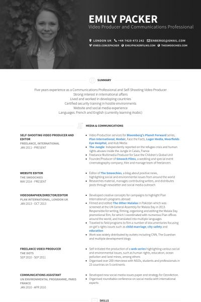 contracted communication strategist/video producer/copywriter Resume - video resume examples