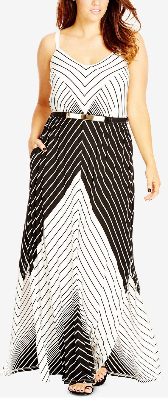Plus Size Colorblocked Chevron-Print Maxi Dress