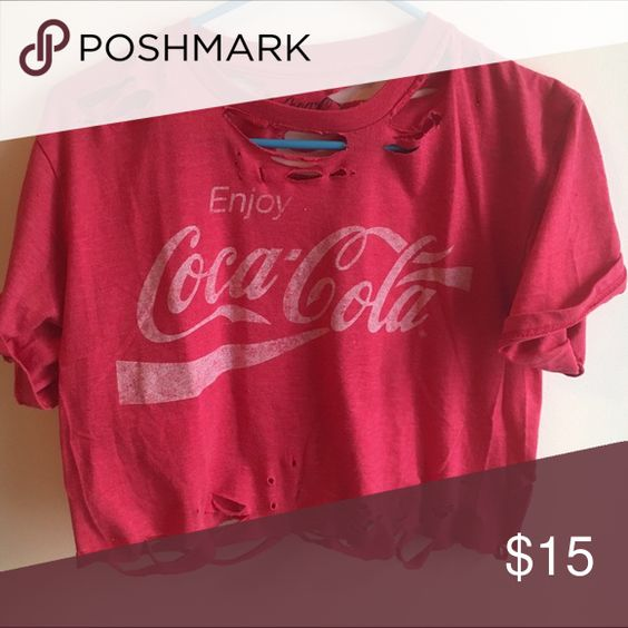 Distressed Coca Cola Crop Top LF Inspired. Longer in the back than the front! Looks super cute with boyfriend jeans or high waisted shorts! Has high slits cut out on the side! Tags: Urban Outfitters, Brandy Melville, Forever 21 LF Tops Tees - Short Sleeve