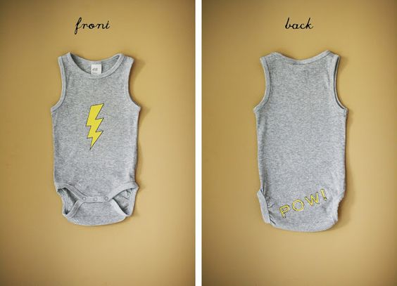 DIY: lightning bolt and pow! boy's onesies & free graphic download via neato! bonito