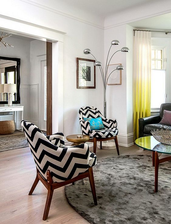 Living Room : Contemporary Living Room Two Chevron Accent Chairs