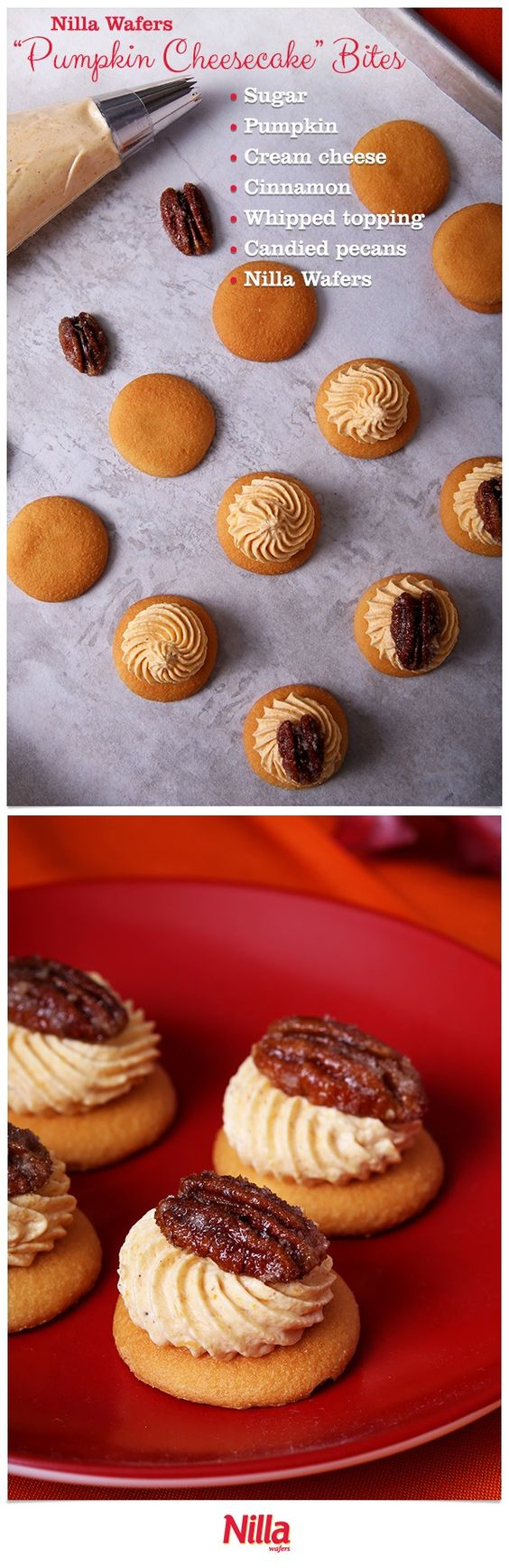 These no bake Pumpkin Cheesecake Bites only need a few ingredients and are perfect to serve at parties. Top Nilla Wafers with a mixture of pumpkin pie filling, whipped topping and cinnamon. A candied pecan as garnish completes the recipe!