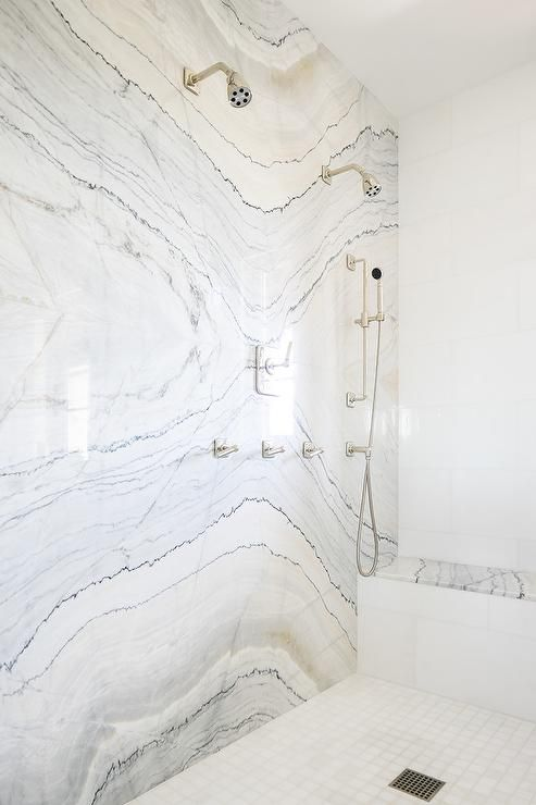 Cream And Gray Marble Slab Shower Accent Wall Does Not Need Added