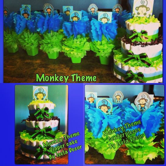 Monkey theme baby shower centerpieces and diaper cake baby shower by isela decor pinterest - Baby shower monkey theme cakes ...
