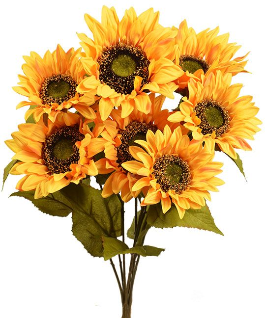 Sunflower Bush X7 20 Yellow Gold Artificial Flowers Sunflower Types Of Flowers