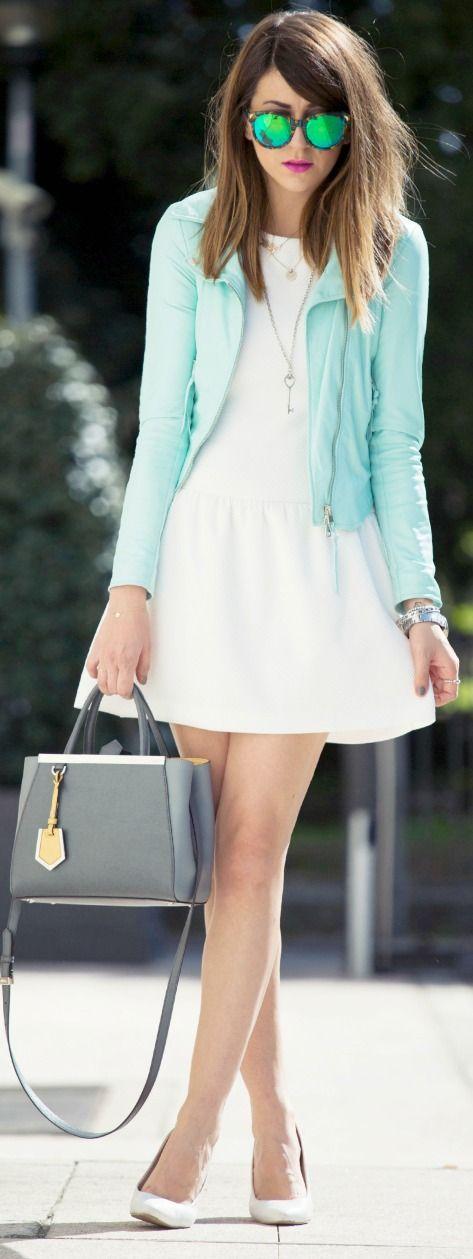 White Skater + Mint Blazer #spring #style #mint