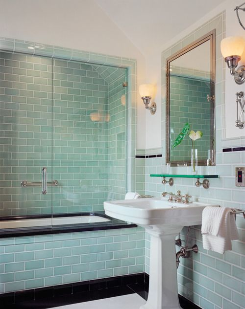 Stunning, vintage inspired, turquoise and black tile bathroom in...