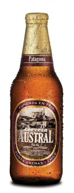 Cerveja Austral Pale Ale, estilo American Pale Ale, produzida por Cerveceria Austral, Chile. 5% ABV de álcool.