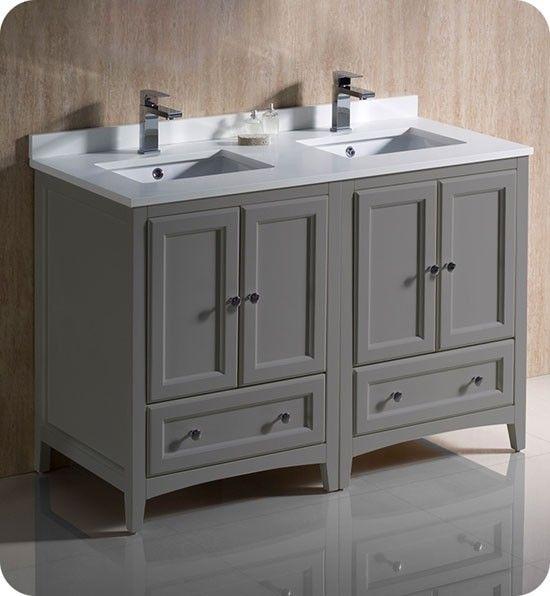 Fresca Oxford Double 48 Inch Gray Transitional Modular Bathroom Vanity Traditional Bathroom Cabinets Double Sink Bathroom Cabinets Traditional Bathroom