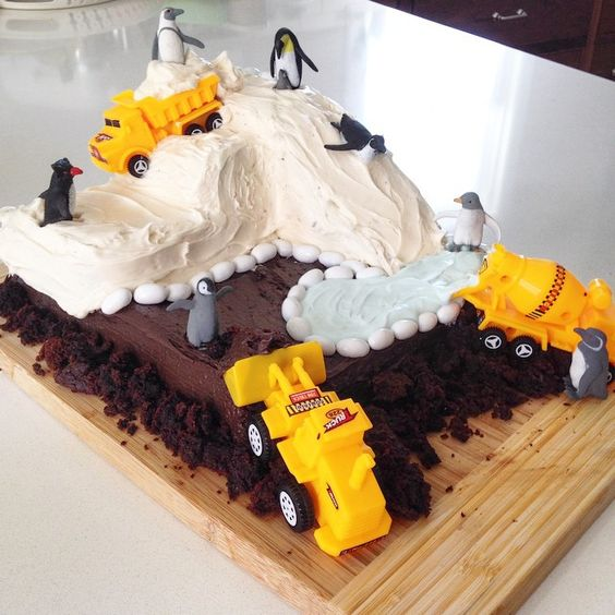 Because when your birthday boy asks for a penguin construction site cake...