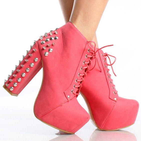 Pink Spike Studded Embellish Lace Up Platform Chunky Heel Ankle ...