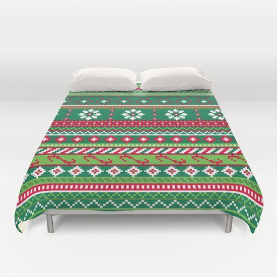 Fair Isle Christmas Pattern Duvet Cover