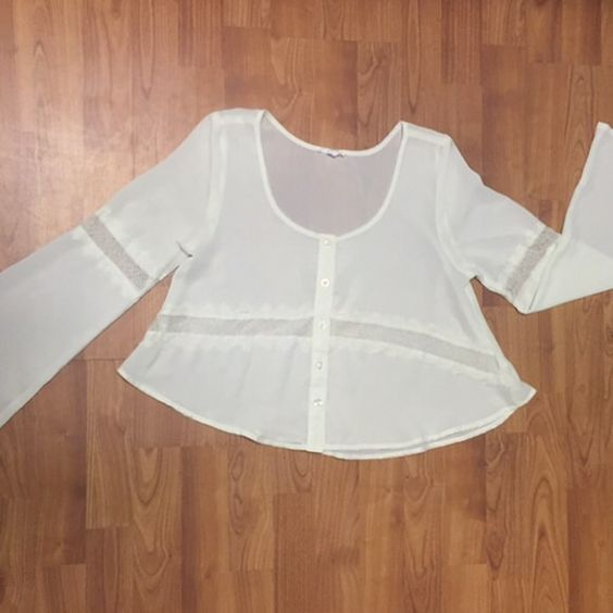Boho Long Sleeved Crop Top This top is so cute. There are lace cut outs around the tummy and on each arm. The arms flare out a bit. So cute. Perfect condition! Mine Tops Crop Tops