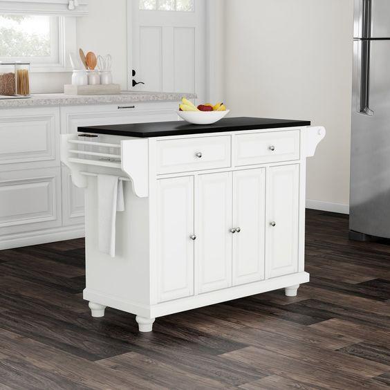 Copper Grove Filbert White With Black Granite Top Kitchen Island