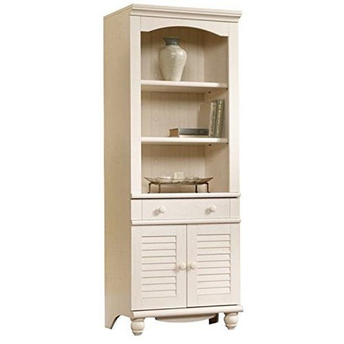 Bowery Hill Library With Doors In Antiqued White Sauder 3 Shelf