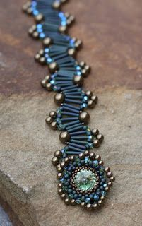 Bracelet with bugle beads and seed beads. Use 9mm bugles instead of , size 8 seed beads and 3mm crystals .
