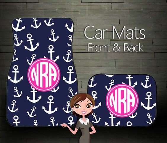 Custom Personalized & Monogrammed Car Floor by BoutiqueMonogram, $39.99 #monogram #monogrammedgift #uniquegift #personalizedgift #preppygift #nautical