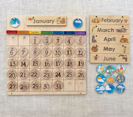 Wooden Perpetual Calendar & Weather School Chore von FromJennifer