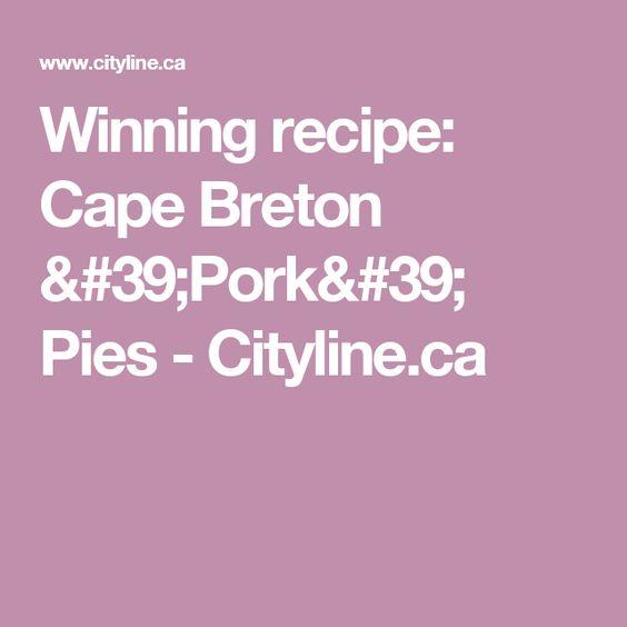 Cape breton recipe for pork pies