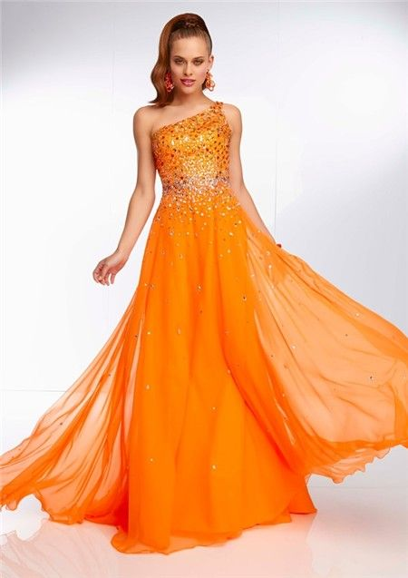 Elegant One Shoulder Long Neon Orange Chiffon Beaded Prom Dress ...