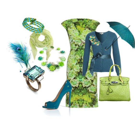 Lime & Teal: Floral Dress, Solid Cardigan, created by wendy-sheets on Polyvore