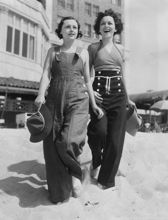 Young women at the beach, ca. 1930s.