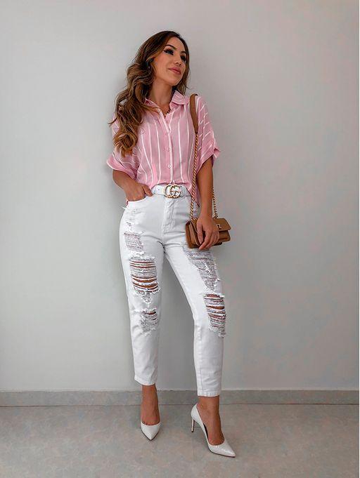 estilo casual com calça jeans branco