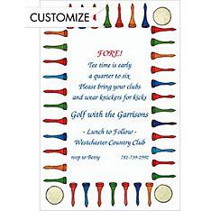 Custom Golf Tee Border Invitations