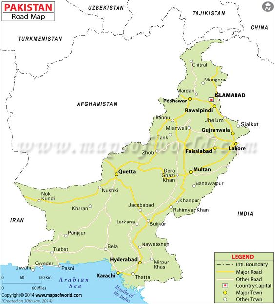 Pakistan road map depicts the highways and major roads of Pakistan - blank road map