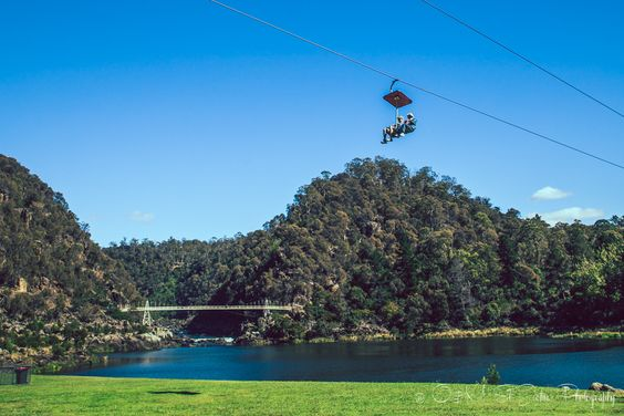 457 m long chairlift over the First Basin at the Cataract Gorge, Launceston, Tasmania