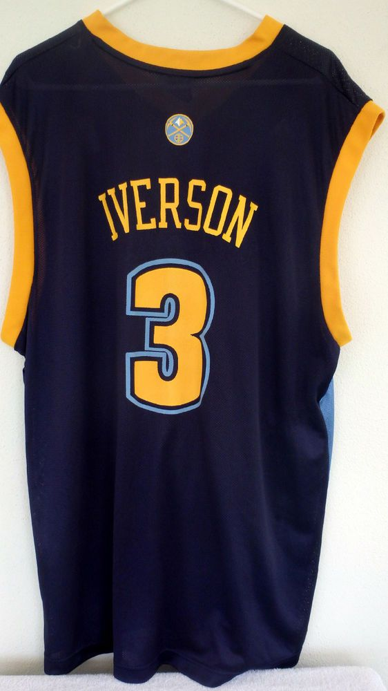 check out a3c9c a40f2 denver nuggets 3 allen iverson yellow swingman jersey