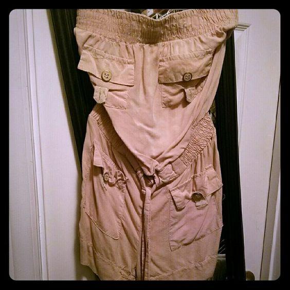 Tan strapless Romper Never worn Romper Shorts