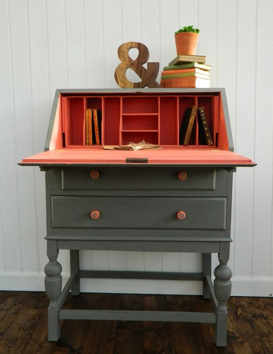 Grey and coral - trophy and apron strings MMS mlk paint - desk by Juniper and Roses