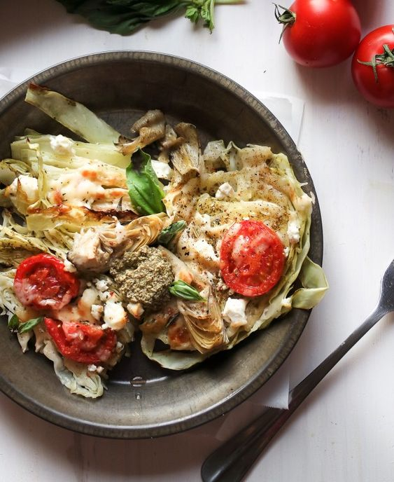 Mediterranean Roasted Cabbage Steaks with Basil Pesto and Feta