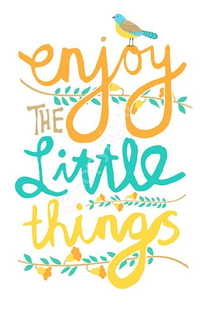 """Enjoy the little things in life, for one day you may look back and realize they were the big things."" - Robert Brault:"