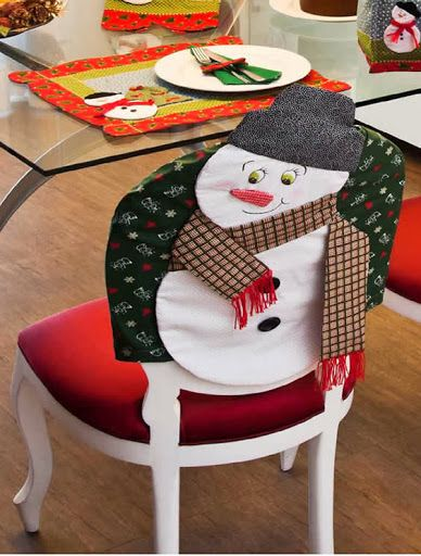 capa cadeira patchwork boneco de neve