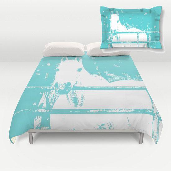 ON SALE White Horse  Duvet Cover  Pillow Sham Turquoise  Kids Decor  Modern  Animal Bedding Bedroom Decor  Accessories  Bedroom Art Interior. Cheval blanc  housse de couette ou douillette  couvre oreiller