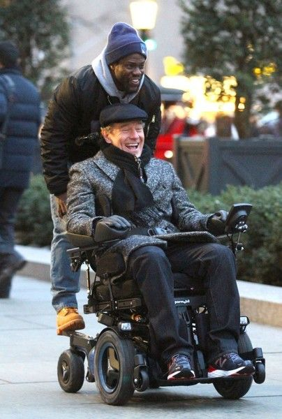 Actors Bryan Cranston and Kevin Hart were seen filming on the set of their latest project 'Untouchable' in Manhattan's Midtown area in New York City, New York on February 15, 2017. Cranston and Hart were all smiles as they took a ride on an electric wheelchair.