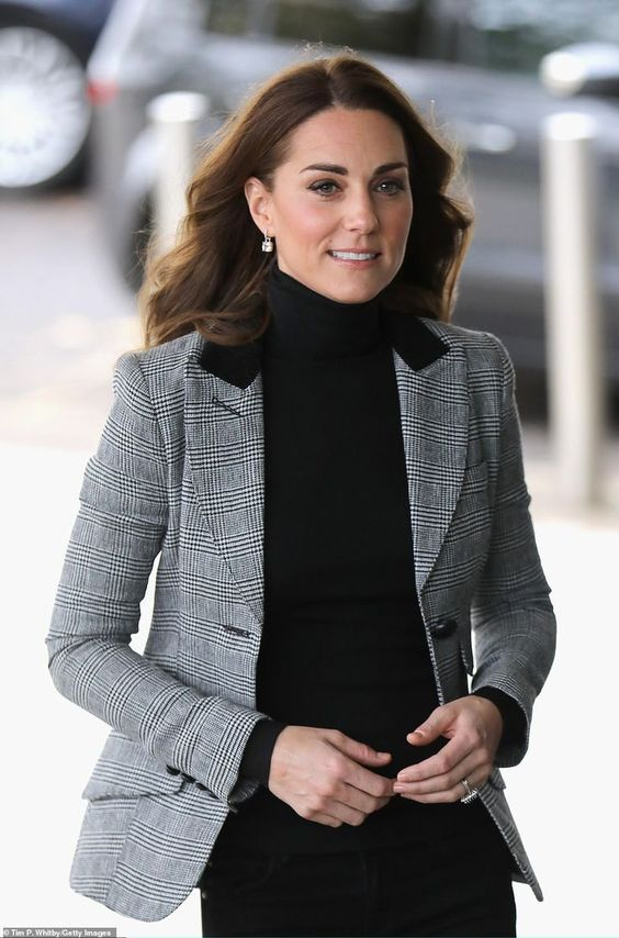 The Duchess of Cambridge looked smart in a checked blazer from Smythe as she arrive at Bas... #katemiddleton