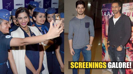 Bollywood biggies step out for a night at the movies! #Neerja - special screening.