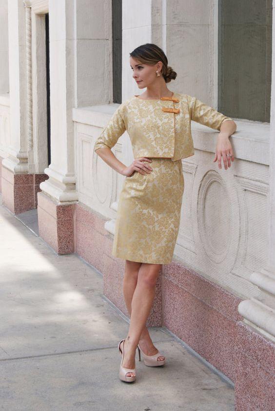 """Jahrgang 1950 gelb Gold Floral-Brokat-Kleid mit Bolero Größe XS/kleine W-25 """""""