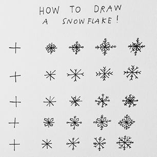 how to draw a tiny snowflake