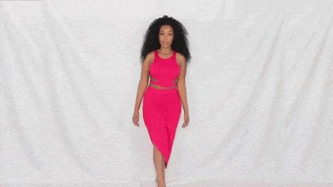 Pretty Ambre Renee wearing red bodycon two-piece dress. | Lookbook Store Fashion in Acrion #LBSMovingFashion