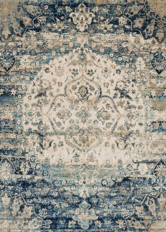 Stunning modern blue & ivory area rug from Loloi Anastasia collection. Great for a modern home re-model.
