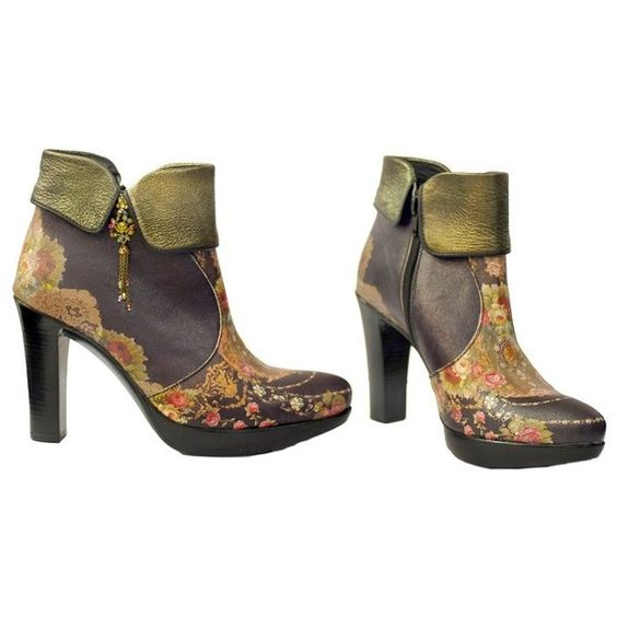 FindersKeepers: Michal Negrin Boots made of Solid Combo Uppers and Printed Leather, decorated with Boot Ankle and Flowers