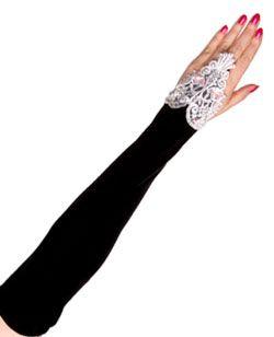 Velvet long f-loop lolita gloves-BW - Gothic lolita punk gloves