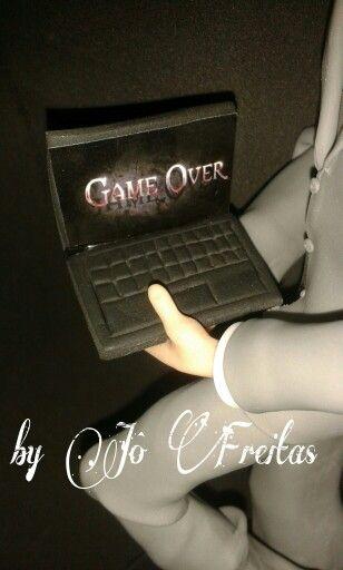 Detalhe casal de noivinhos Game Over