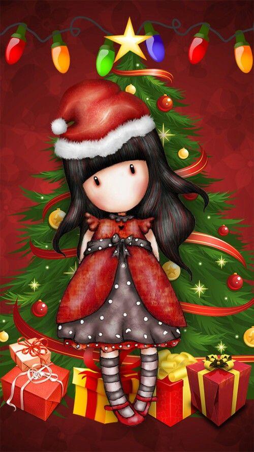 #Ilustración bonita Gorjuss Cardsniña Arbol Navidad Papá Noel para #llienzo #póster o fotolienzo en foam forex o metacrilato personalíza e imprime el tuyo en powerprint.es