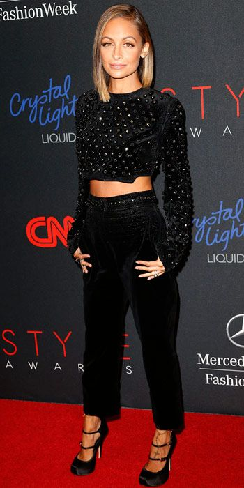 Nicole Richie - Look of the Day - InStyle, WHAT SHE WORE Richie hit the red carpet before hosting the 10th annual Style Awards in an embellished Antonio Berardi ensemble. She accessorized with Vivienne Westwood heels and Jennifer Meyer earrings.
